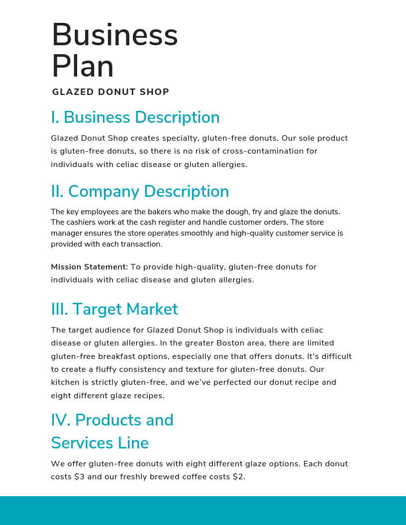 Part Business Plan Strategy Sales And Example Marketing