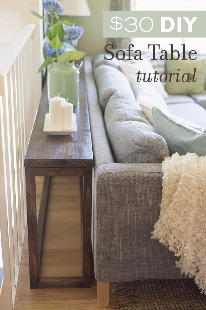 30 DIY Sofa Console Table Tutorial   Jenna Sue Design Blog How to make your own custom console table for  30