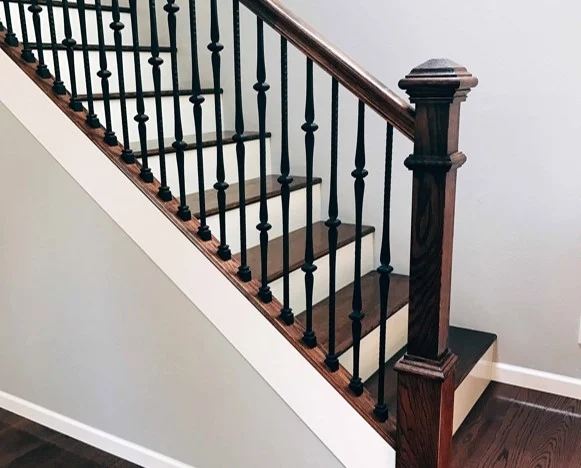 Choosing Wood Or Wrought Iron Balusters For Your Home | Wood And Metal Handrail | Interior | Iron Railing | Architectural Modern Wood Stair | Stainless Steel | Traditional
