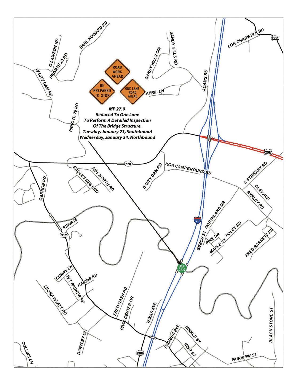 I 75 map i 75 lane closures set for this week news thetimestribune