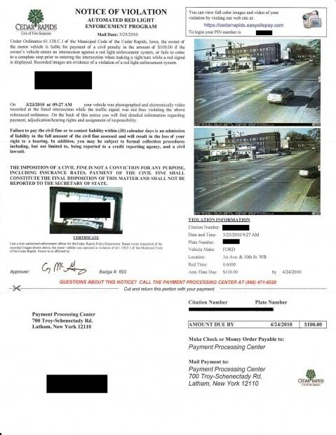 Red Light camera ticket | | wcfcourier.com