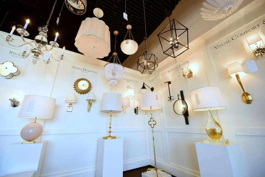Dothan interior designer has inexpensive ideas for updating a home     JAY HARE   DOTHAN EAGLE This collection of lighting with gold accents inside  of the Mayer Electric Lighting showroom is trending in interior design