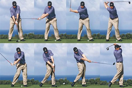 3Jack Golf Blog  Understanding the Basics of TGM    Part III In the pic of JJ Henry  at the top of the swing his right arm is folded at  about a 90 degree angle  Then on the downswing it slowly extends until it