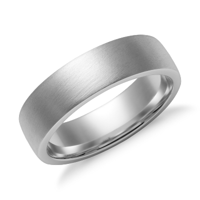 Matte Low Dome Comfort Fit Wedding Ring In 14k White Gold 6mm Blue Nile