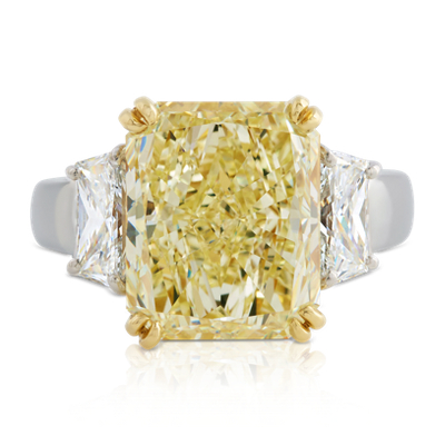 Estate Fancy Light Yellow Diamond Ring In Platinum And 18k Yellow Gold 9 72 Ct Tw Blue Nile