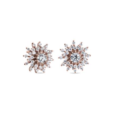Sunburst Diamond Stud Earrings In 14k Rose Gold 1 Ct Tw Blue Nile