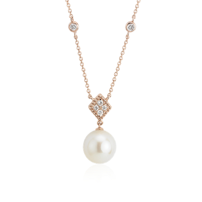 Freshwater Cultured Pearl Drop Necklace With Diamond In 14k Rose Gold 8 8 5mm Blue Nile