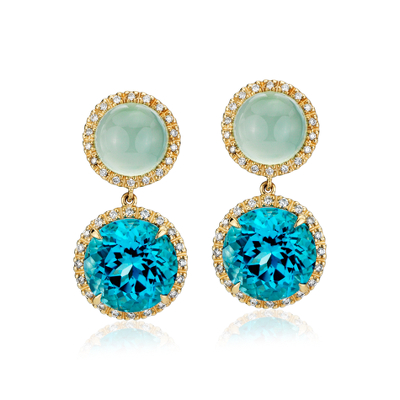 Green Chalcedony And Swiss Blue Topaz Drop Earrings With Diamond Halo In 14k Yellow Gold 10mm