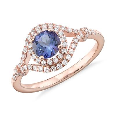 Tanzanite And Diamond Halo Elegant Ring In 14k Rose Gold 5 5mm Blue Nile