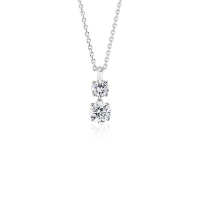 Two Stone Diamond Drop Pendant In 14k White Gold 1 Ct Tw Blue Nile
