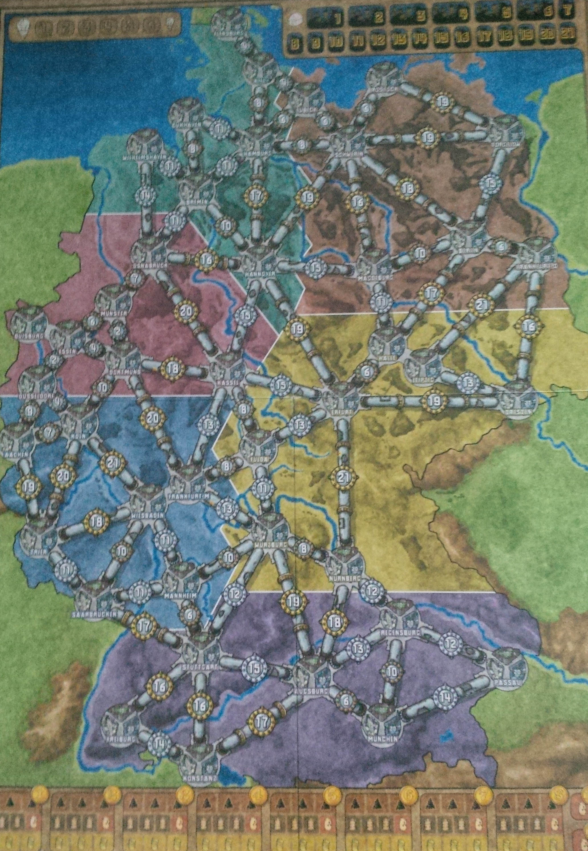 network building     Board and Game The Germany map  one of the two in the base game of Power Grid