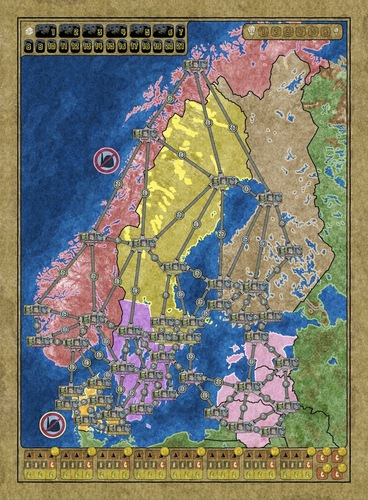 Power Grid Expansion  Catan Histories  Ticket To Ride Africa Reviews     PowerGrid Northern Europe Map