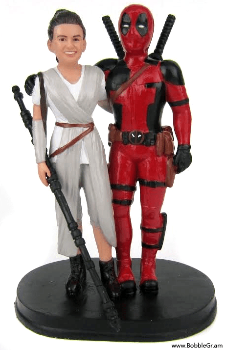 Star Wars Rey and Deadpool Wedding Cake Topper   Bobblegram Star Wars Rey and Deadpool Wedding Cake Topper