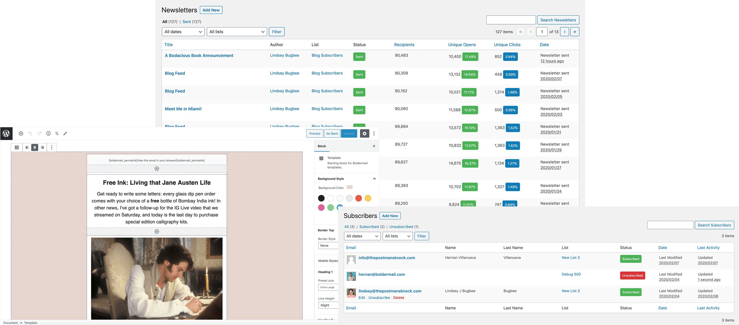 The Boldermail dashboard