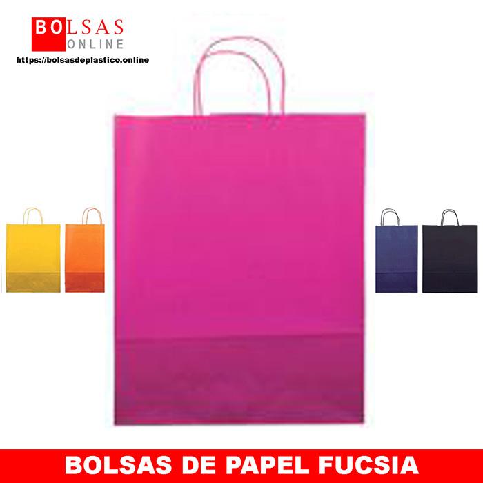 a02b33454 Bolsas de papel fucsia con asa rizada. - ✓ Bolsas Online