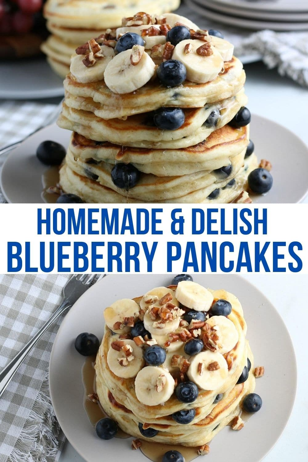 Collage of blueberry pancakes