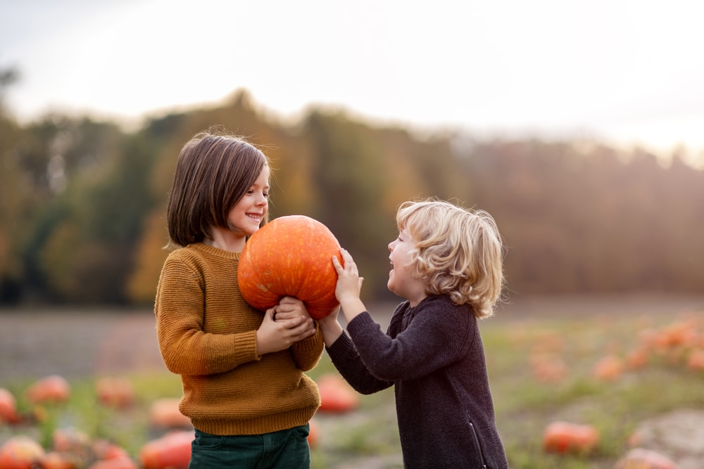 A boy and girl holding a large pumpkin.