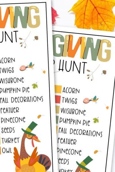 Scavenger hunt item checklist printable.