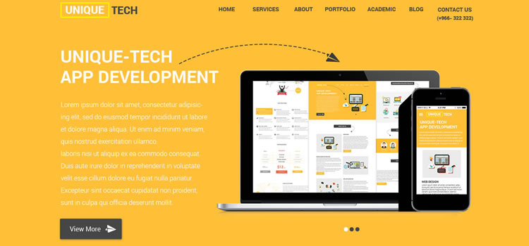 Unique Tech – One Page Html Responsive Portfolio Template