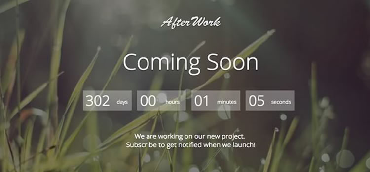 AfterWork – Responsive Coming Soon Free Bootstrap Template