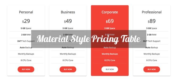Material Style Free Bootstrap Pricing Table