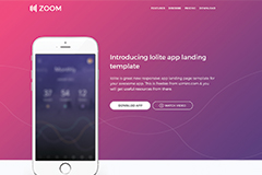 Zoom UI Kit – Mobile App Html Landing Page Template