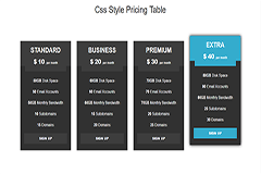 Responsive Hover Pricing table