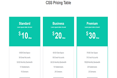 Simple Bootstrap CSS Pricing Table