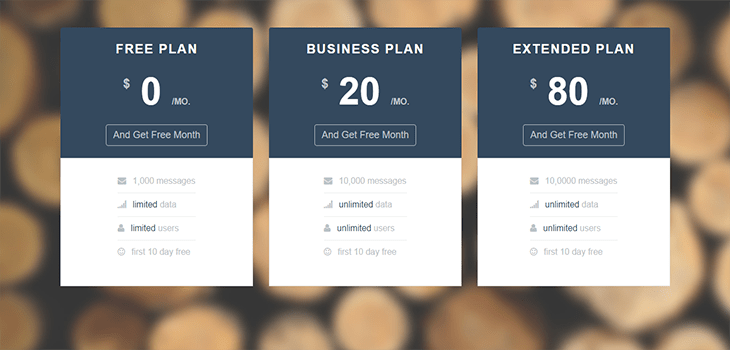 Bootstrap startup ui pricing table startup framework for Bootstrap table title