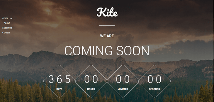 Kite – Free Bootstrap Responsive Coming Soon HTML5 Template