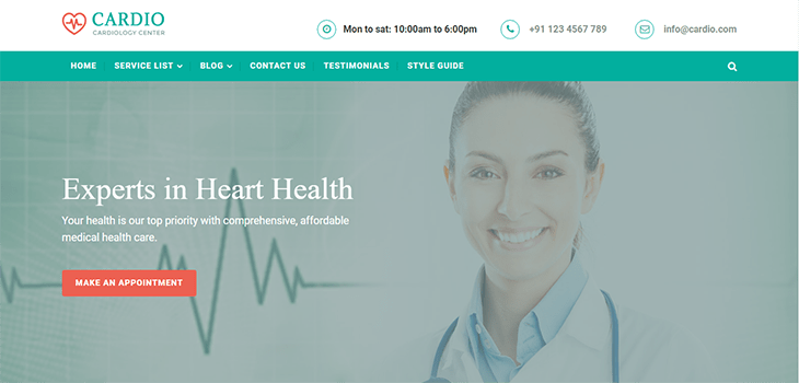 Cardiology Medical Bootstrap Website Template
