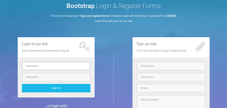 Bootstrap Login And Register Form Bootstrap Themes