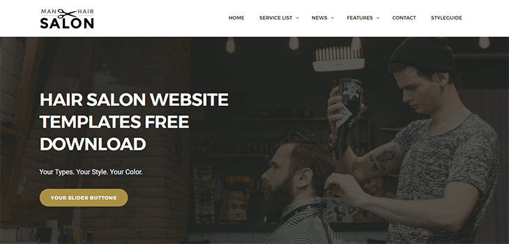 Men Hair Salon Bootstrap Responsive Website Templates