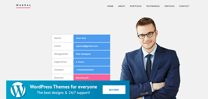 Webres – Resume WordPress Theme