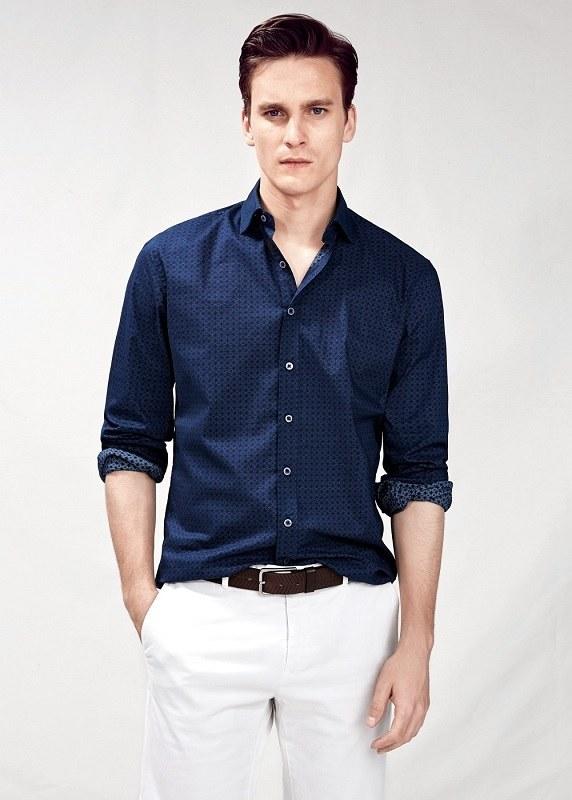 قميص عارضة أزرق