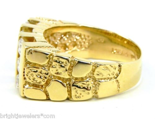 Men S 14k Yellow Gold 1 Cts Diamonds Nugget Ring Bright Jewelers Bright Jewelers
