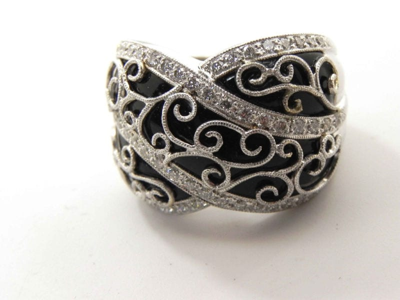 Ladies 18k White Gold Diamonds Over Onyx Dome Filigree Ring Bright Jewelers