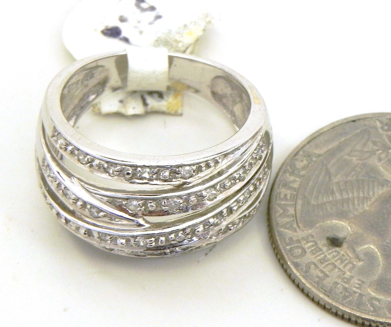 Ladies 14k White Gold Diamonds Criss Cross Ring Bright Jewelers