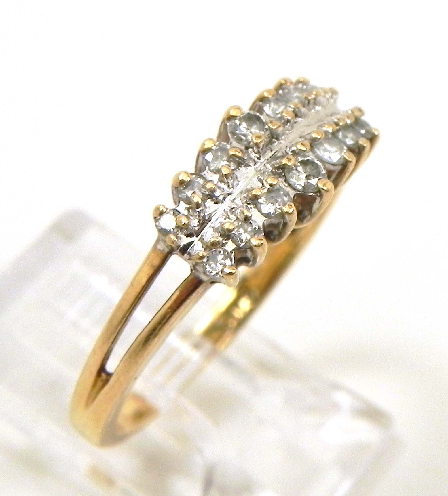 Ladies 14k Yellow Gold 2 Rows Diamonds Wedding Ring Bright Jewelers