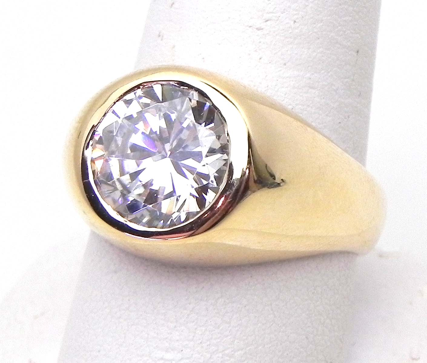 Mens 14k Yellow Gold Gypsy Ring W Round Cubic Zurconia Bright Jewelers