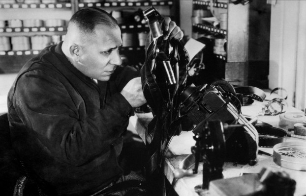 Erich von Stroheim at the editing table