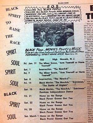 Radical triple-feature: The New-Ark screens with Dutchman (adapted from Baraka's play) and The Battle of Algiers at Baraka's Spirit House, early 1969 (from Black News, Newark's black newspaper).