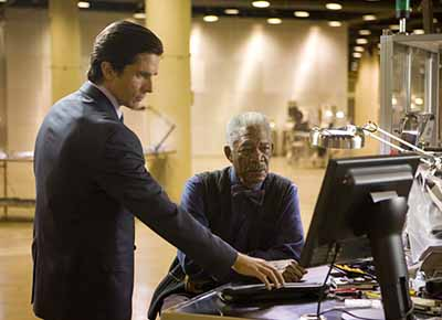 Christian Bale and Morgan Freeman in The Dark Knight