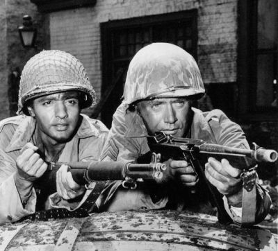 Sal Mineo (left) and Vic Morrow in an episode of the TV show Combat. Public domain photo, per Wikimedia Commons