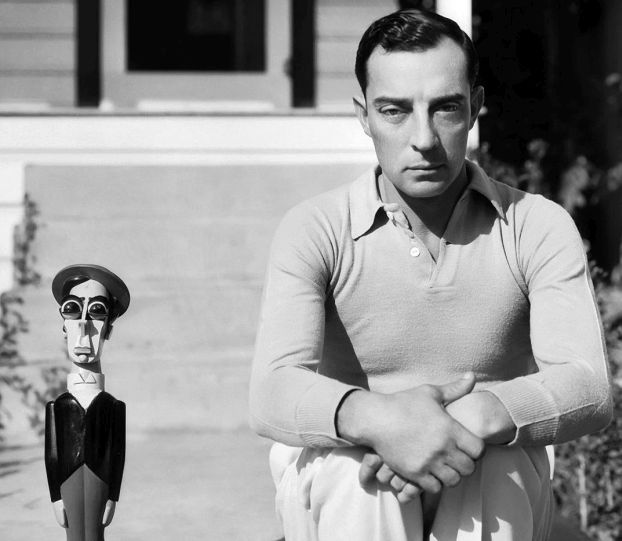 Buster Keaton, December 1930, with doll version of himself