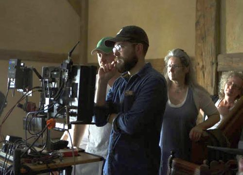 With director Robert Eggers on the set