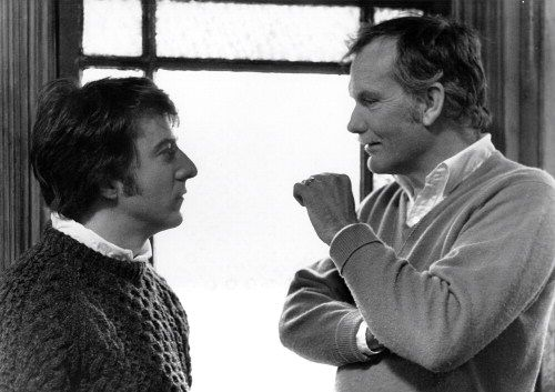 Dustin Hoffman and Sam Peckinpah during the filming of Straw Dogs