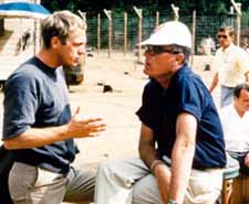 McQueen with director John Sturges on the set of The Great Escape