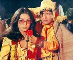 With Zeenat Aman in Hare Rama Hare Krishna