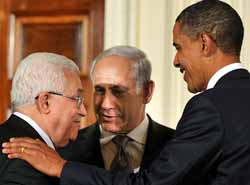 Mahmoud Abbas, Benjamin Netanyahu, and Barack Obama